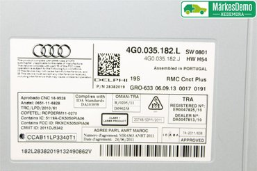 Radio CD / Multimediapanel - Audi A6, S6 -13 4G0 035 182 LX - 4G0035182L