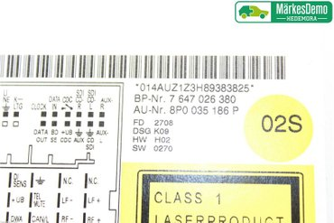 Radio CD / Multimediapanel - Audi A3, S3 -09 8P0 057 186 SX - 8P0035186P